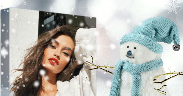 Make yourself into the winter scene with snowman