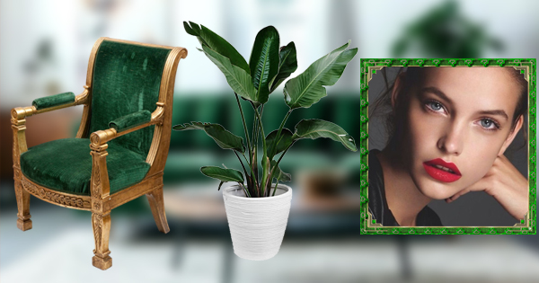 Green chair and living room photo frame, create your photo now!